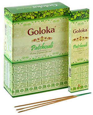 Goloka Patchouli Incense - 15 Gram Pack (12 Packs Per Box)