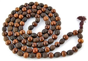 Natural Lotus Seed + Sheesham Wood Prayer Mala - 10mm