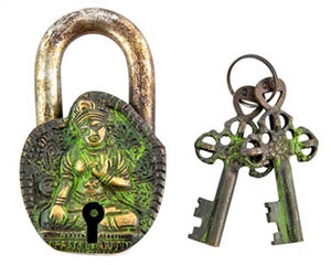 "Goddess Tara Tibetan Antique Lock - 2.5""W, 4""H"