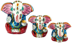 "Lord Ganesh Hand Painted Lacquer Statue - 1.75"", 2"", 2.75""h (Set  of 3)"