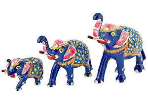 "Pieces Elephant Hand Painted Lacquer Statue Set - 2"", 2.75"", 3.25""H"
