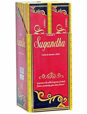 Nikhil Sugandha Natural Incense - 15 Gram Pack (12 Packs Per Box)