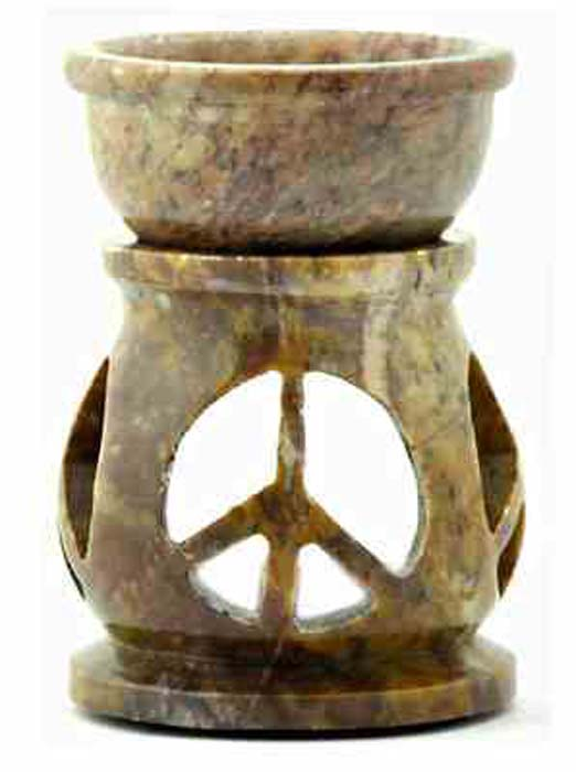 "*3 Peace Sign Carved Aroma Lamp - 3.5""H"