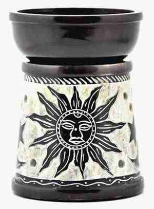 "Sun-Moon-Star Carved Aroma Lamp in Black - 5""H"