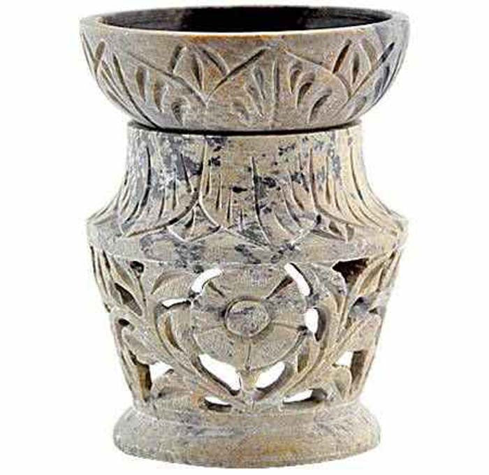 "*Floral Carved Soapstone Aroma Lamp - 4.5""H"