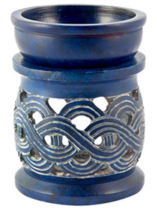 "*Celtic Knot Carved Oil & Resin Burner in Blue - 3""x3""x4"""