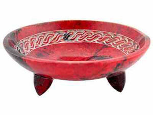 "Red Celtic Knot Smudge Pot or Charcoal Burner - 5""D, 1.5""H"