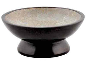 "Brown Soapstone Charcoal Burner - 5""D, 2""H"