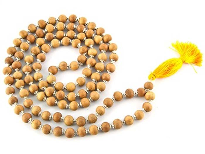 6 Natural Sandalwood With Silver Caps Prayer Mala - 8mm