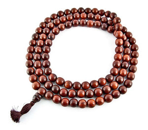 14mm Tibetan Red Sandalwood Superfine Prayer Mala - 108 Beads