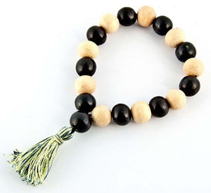 12mm Kadam + White Wood Stretch Bracelet - Sold as as Set of  2