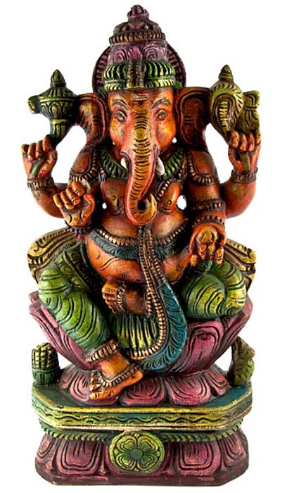 "GANESH-01 Lord Ganesh Wooden Statue Antique - 18""H"