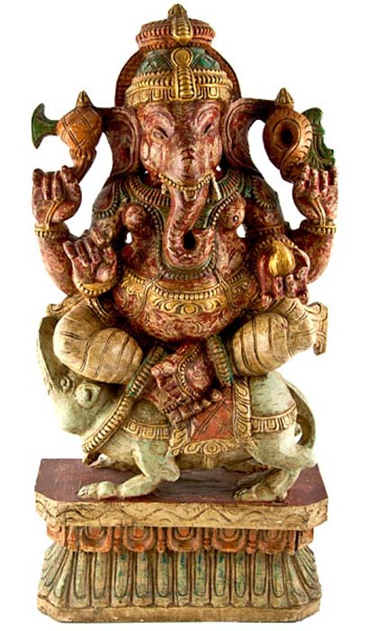 "GANESH-02 Lord Ganesh Wooden Statue Antique - 23""H"