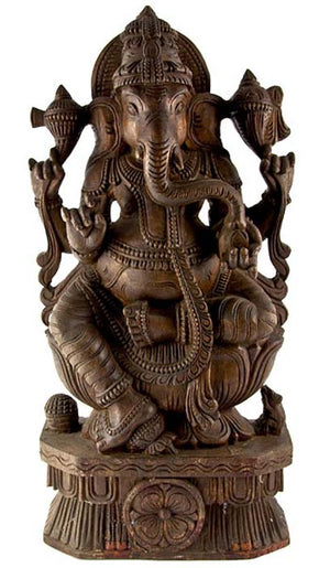 "GANESH-03 Lord Ganesh Wooden Statue Antique - 23""H"