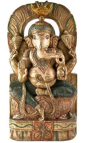 "GANESH-03 Lord Ganesh Wooden Statue Antique - 18""H"