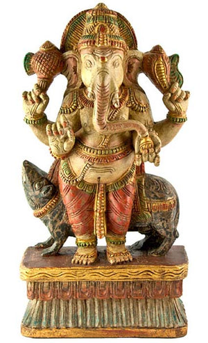 "GANESH-05 Lord Ganesh Wooden Statue Antique - 18""H"