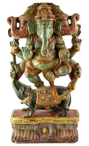 "GANESH-06 Lord Ganesh Wooden Statue Antique - 18""H"