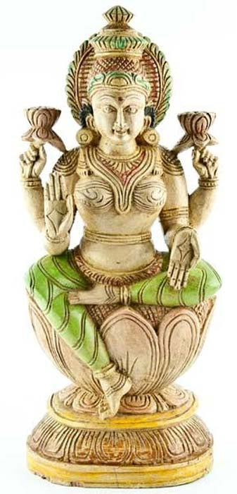 "LAXMI-02 Goddess Laxmi Wooden Statue Antique - 18""H"