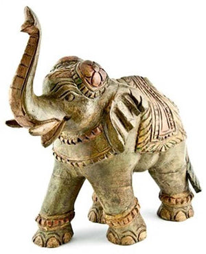 "ELEPHANT Wooden Elephant Antique - 13""H, 12""L"