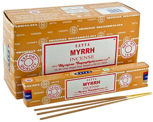 Satya Myrrh Incense - 15 Gram Pack (12 Packs Per Box)