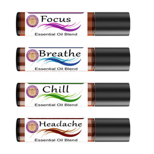 Set of 4 Roll Ons | Headache - Chill - Breathe - Focus Blends – 10ml each