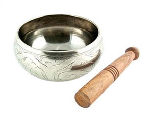 "Silver White Tibetan Meditation Singing Bowl - 5""D"