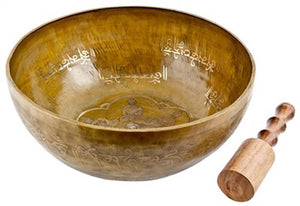 "Puncha Buddha Carved Tibetan Meditation Singing Bowl - 12""D"