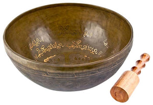 "Lotus Feet Carved Tibetan Meditation Singing Bowl - 12""D"
