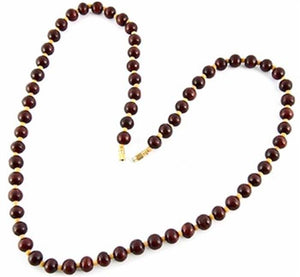 8mm Red Sandal + 3mm White Sandal Necklace - 24""