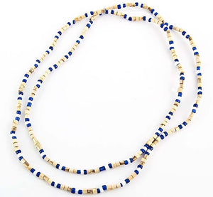 "3mm Tulasiwood With Blue & White Fancy Neck Beads - 32""L"