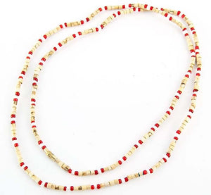 "3mm Tulasiwood With Red & White Fancy Neck Beads - 32""L"