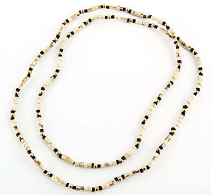 "3mm Tulasiwood with Black & Gold Neck Beads - 32""L"