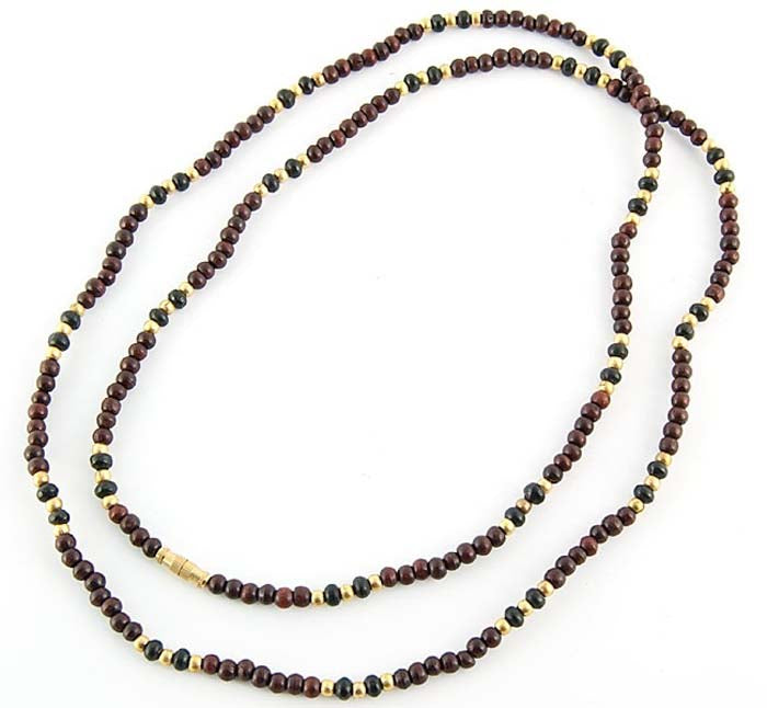 "3mm Red Sandal with Black & Gold Neck Beads - 32""L"
