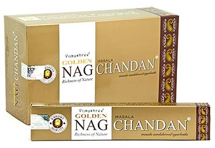 Golden Nag Chandan (Sandal) Incense - 15 Gram Pack (12 Packs Per Box)