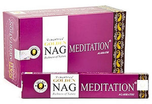 Golden Nag Meditation Incense - 15 Gram Pack (12 Packs Per Box)