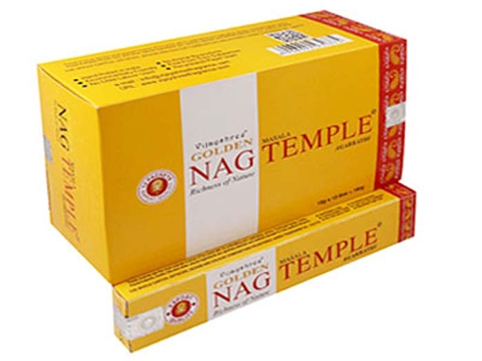 Golden Nag Temple Incense - 15 Gram Pack (12 Packs Per Box)
