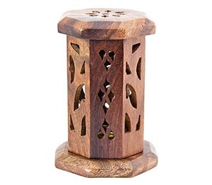 "Carved Wooden Tower Burner for Cone - 4.5""H - Sold as as Set of  2"