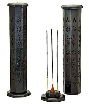 "Black Wooden Tower Burner for Sticks & Cone - 12""H - Sold as as Set of  2"