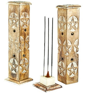 "Pentacle Wooden Tower Sticks/Cone Burner - 12""H - Sold as as Set of  2"