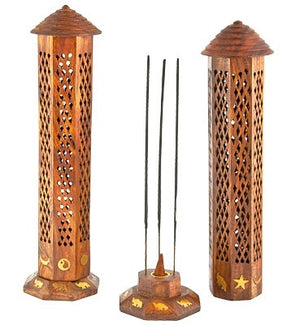 "Brass Inlay with Jali Wooden Tower Sticks/Cone Burner - 12""H - Sold as as Set of  2"