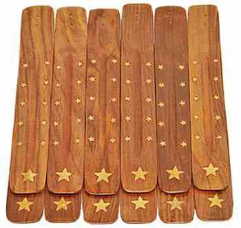 "Star Wooden Incense Burner 10""L  (12 pieces)"