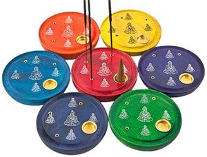 "7 Pieces Chakra Lord Buddha Cone & Sticks Plate Burner Set - 4""D"