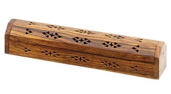 "Wooden Incense Box Burner Plain Carved 12""L - Sold as as Set of  2"