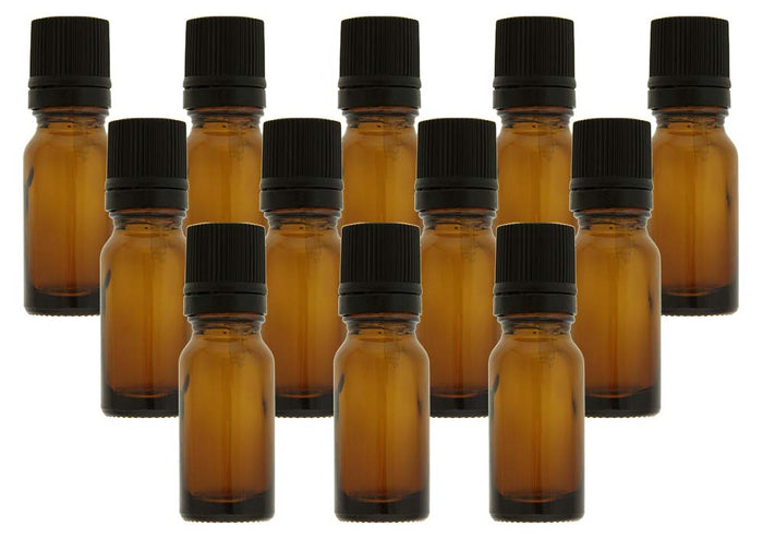 10 ml Amber Glass Essential Oil Bottles with Euro Dropper & Tamper Evident Caps Set of 12
