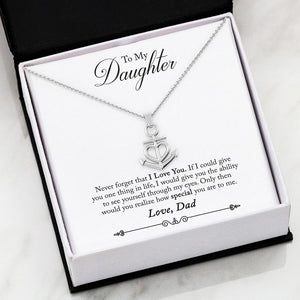 To Daughter From Dad - Friendship Anchor I Love You Necklace
