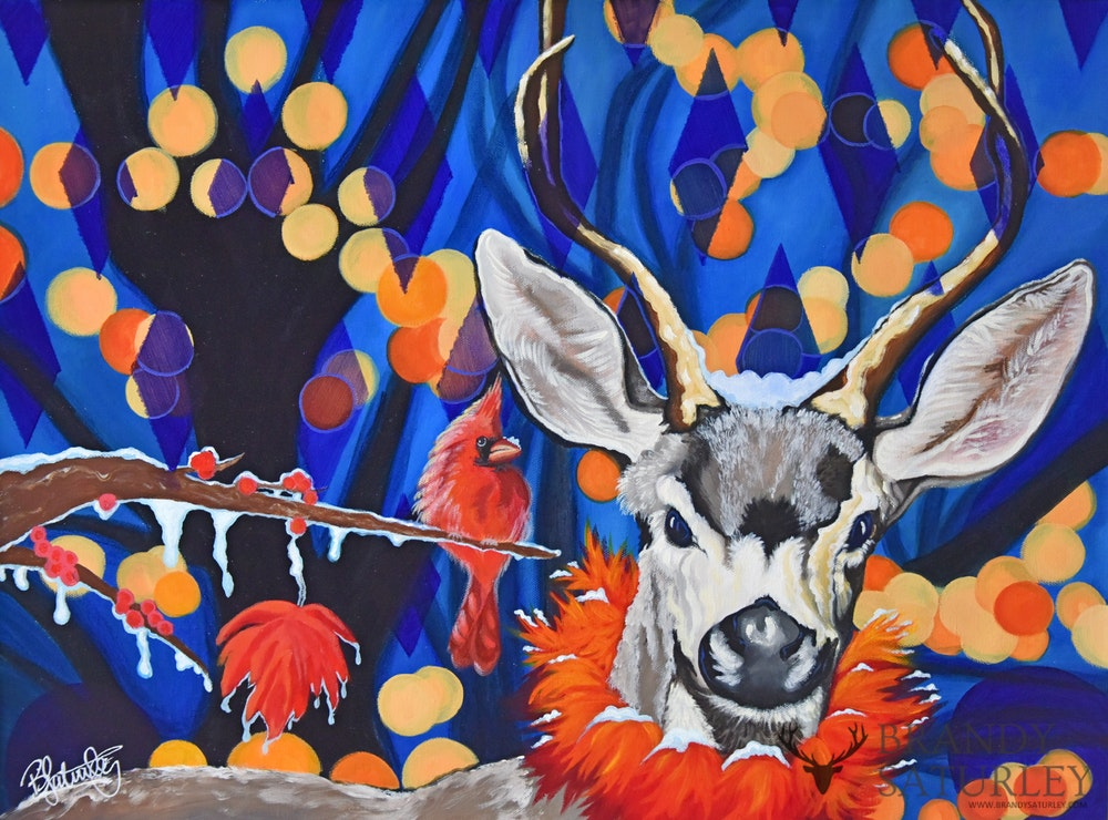 """Harlequin Deer"" Acrylic Original painting for sale - CreativeCollection"