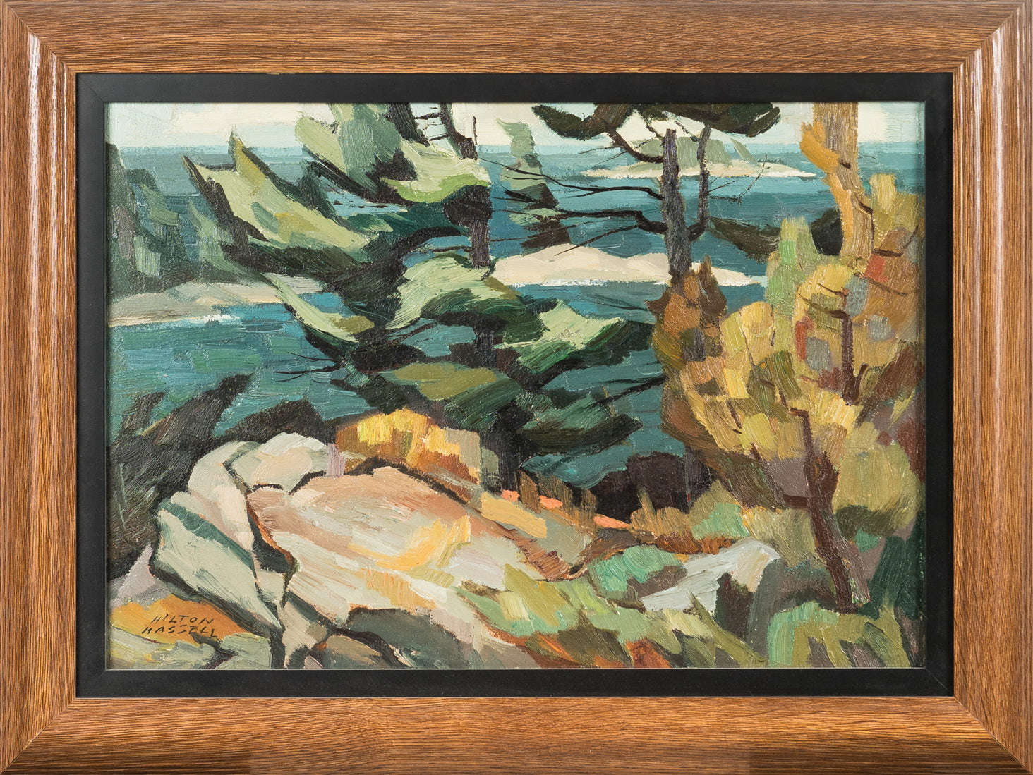 """Coastal Scene with Rocks & Leaves"" - Oil Painting - CreativeCollection"