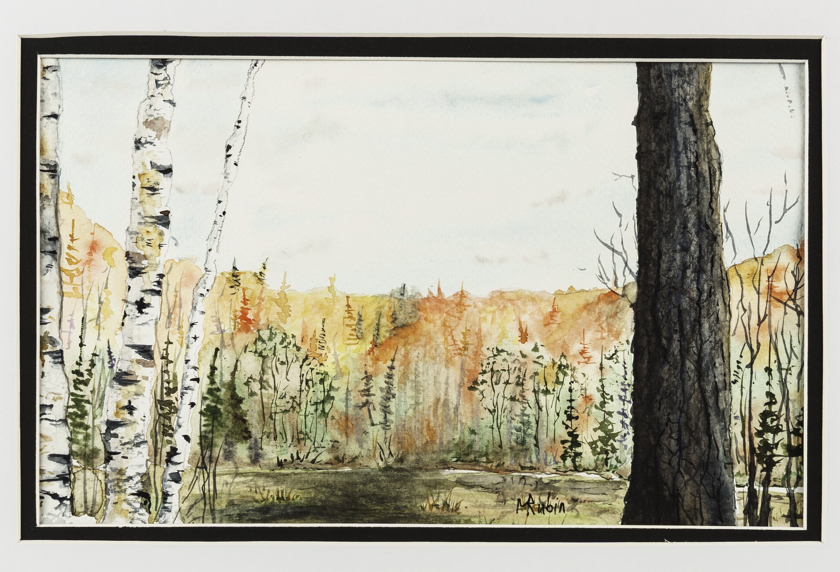 "Watercolor Landscape Painting - ""Autumn End"" - CreativeCollection"