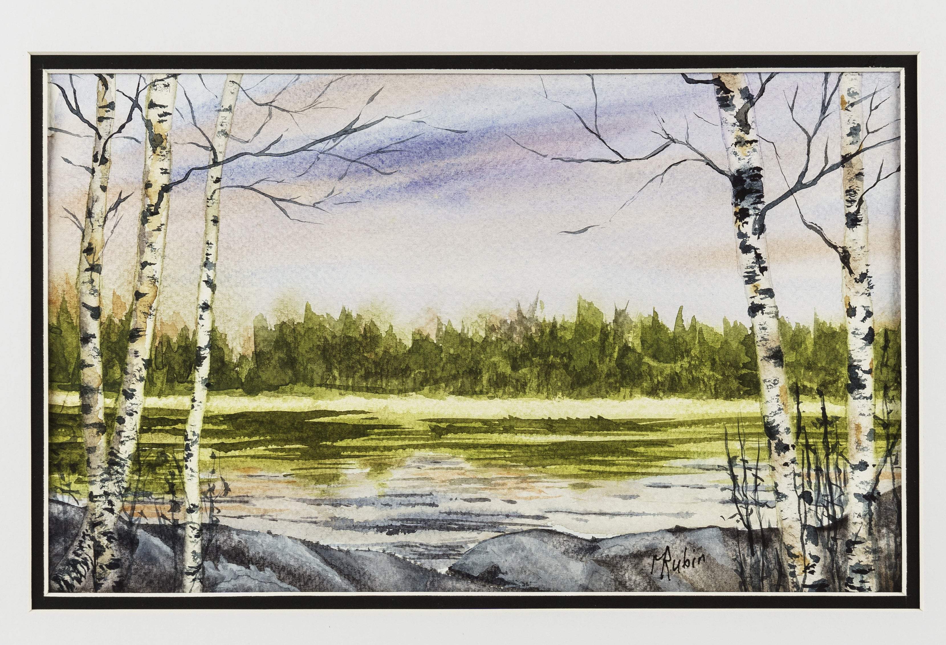 "Watercolor painting - ""Birch Frame"" - CreativeCollection"