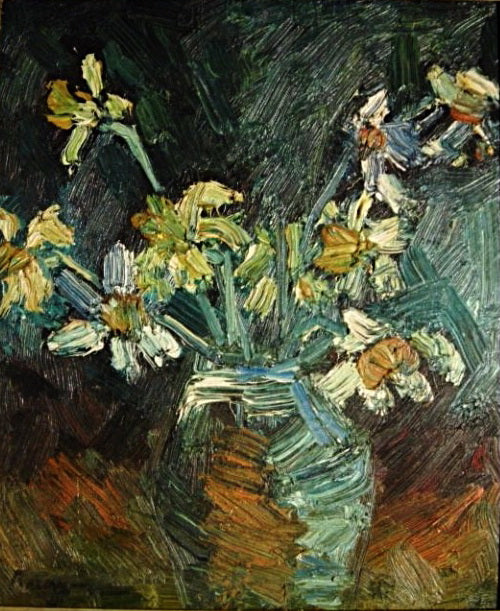 "Oil Painting - ""Daffodils & Narcissi in a vase"" - Jerry Brennan - CreativeCollection"
